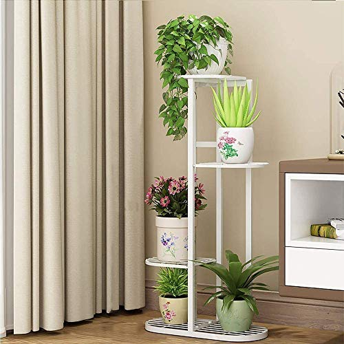 Cretee Metal Plant Stand Estantes de Flores Altos y Bajos Plantador Rack Almacenamiento Organizador Exhibición para Interior Jardín al Aire Libre Balcón (4-Tier 5 macetas) (82cm)