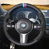 OBCWSG Black Genuine Leather Black Steering Wheel Cover,for BMW M Sport F30 F31 F34 F10 F11 F07 X3 F25 F32 F33 F36 X1 F48 X2 F39