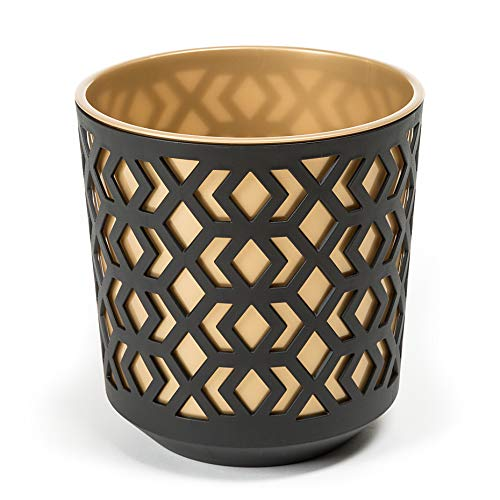 AZTEK SimplyTheBest Flowerpot | Balcony Garden Container Bucket | Two parts | Organizer box decor | Mix! Match! Play!… (Ø 250mm H 270mm, Black + Gold)