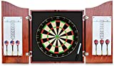 GOOSO Dart Board for Adults with Professional Bristle Dartboard + 22g Steel Tip Darts 6 Pack + Dry Erase Scoreboard and Marker +Solid Wood Cabinet Dark Cherry Finish
