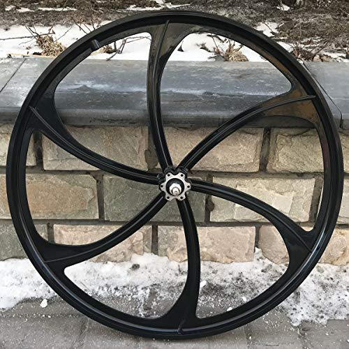 26' Rear Mag Wheel ONLY with 120mm Width For Rotary Single Speed Flywheel / 26 Inch Magnesium Wheel/Black/Disc Brake - for Beach Cruisers, MTB's, and Gas Powered Bicycles