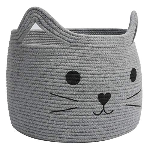 HiChen Large Woven Cotton Rope Storage Basket, Laundry Basket Organizer for Towels, Blanket, Toys, Clothes, Gifts   Pet Gift Basket for Cat, Dog - 15.7 L×11.8 H, Gray