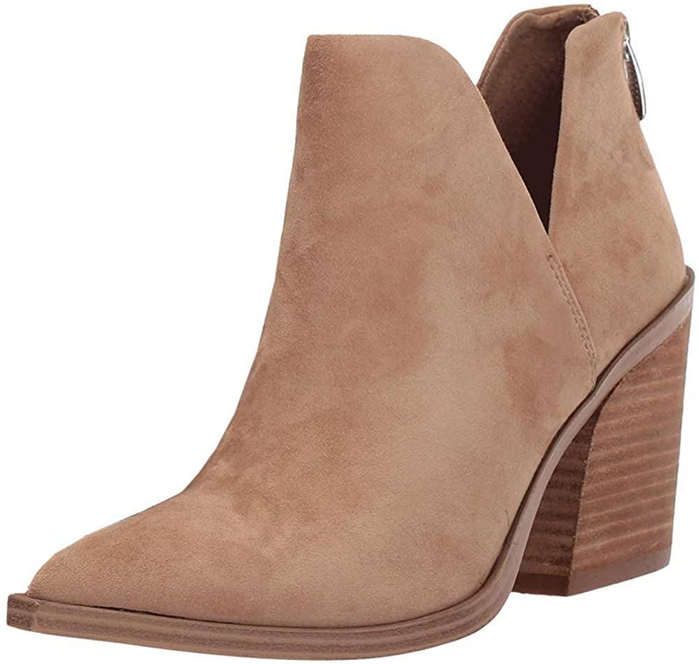 Womens Ankle Boots Slip on Cutout Pointed Toe Snakeskin Chunky Stacked Mid Heel Booties