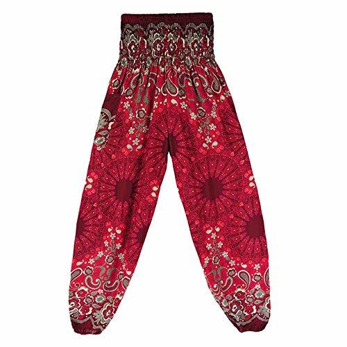 TUDUZ Pantalones Hombre MujerDe Harén Tailandés Pantalones De Yoga Boho FestivalHippy Pantalones Cintura Alta (VinoA, F)
