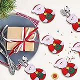 Sunshine smile Weihnachten Bestecktaschen,Geschirrhalter Besteckhalter Weihnachtsmann,Weihnachten Besteckhalter Bestecktasche,Weihnachtsmann Tischdeko,Weihnachten Dekoration Besteck(B, 12 PCS)