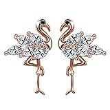 Unendlich U Fashion Flamingo Strauß Ohrstecker 925 Sterling Silber Damen Mädchen Ohrringe Ohrschmuck, Rosegold
