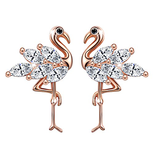 Unendlich U - Pendientes para Mujer Plata de Ley 925 Circonita Cúbica Diseño de Flamenco, Pendientes para Niñas