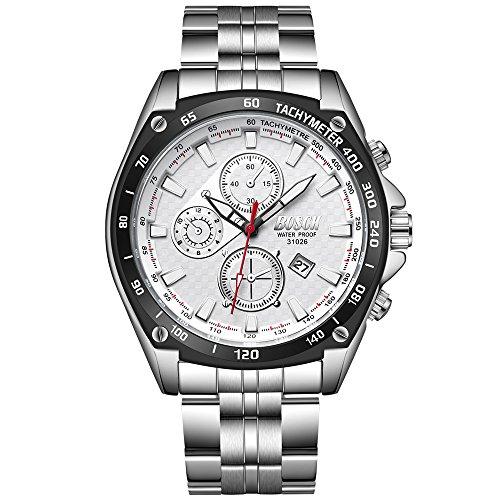 Orologi da Polso da Uomo Forepin® Orologio Uomo Acciaio Orologio Sportivi Cronografo Impermeabile Orologi - Bianco