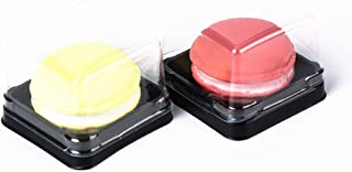 SDJ 100G Black Square Moon Cake Boxes With Colorful Stickers,3 Inch Bottom, 50 Sets
