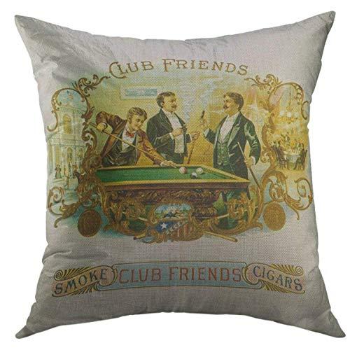 N\A Funda de Almohada Decorativa para sofá, Kitsch Vintage Cigar Label Club Friends Sports Home Decor Funda de Almohada