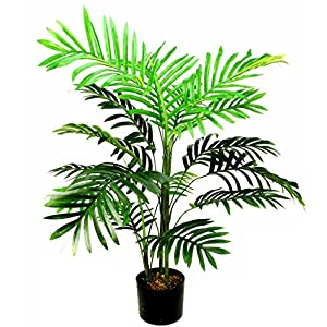 Admired By Nature Artificial Paradise Palm Tree Plant Plastic Pot, 3′, Single Pack, 4 Count