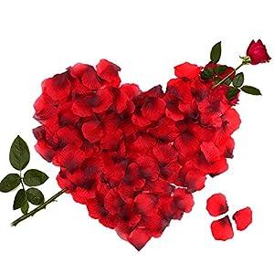 3000 Piezas Pétalos de Rosa, Hermosos Rojo Flores de Rose para el banquete de boda y la atmósfera romántica - Perfecta Día de San Valentín & Bodas Decoración