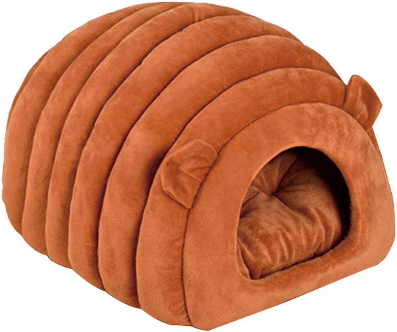 Cat Litter Kennel pet cat pad Dog pad cat Bed semiClosed cat Sleeping Bag Four Seasons Universal,reddishbrown