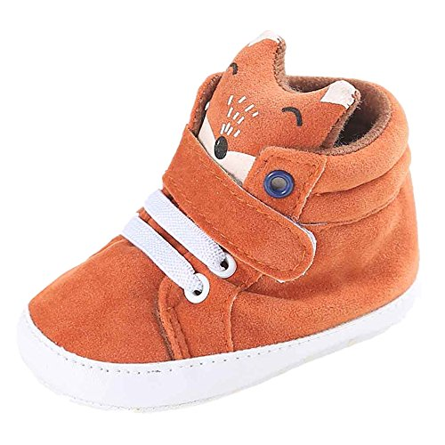 FNKDOR Baby Mädchen Jungen Fuchs Lauflernschuhe rutschfest Canvas Schuhe Stiefel (6-12 Monate, Orange)