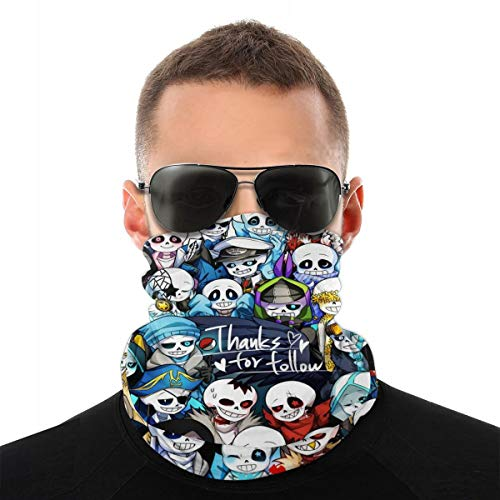 Undertale Sans Balaclava Headband Windproof Sport Mask 3D Half Face Mask Adjustable Face Scarf Mask Neck Bandana for Unisex