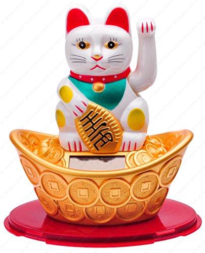 M.V. Trading Japanese Maneki Neko Fortune Cat Lucky Solar Powered Lucky Waving Arm Cat Sitting On Gold Bar, White, 5-Inches