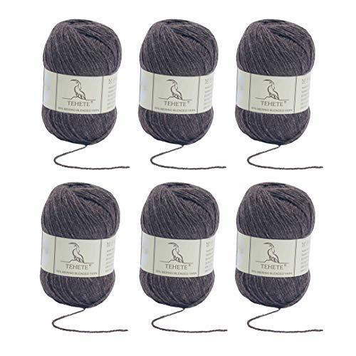 TEHETE Ovillo de lana, Hilados lana merino,6 Bolas x 50g, Hilo para manta,suéter calcetín, bufanda, diy, ganchillo y tejido-marrón