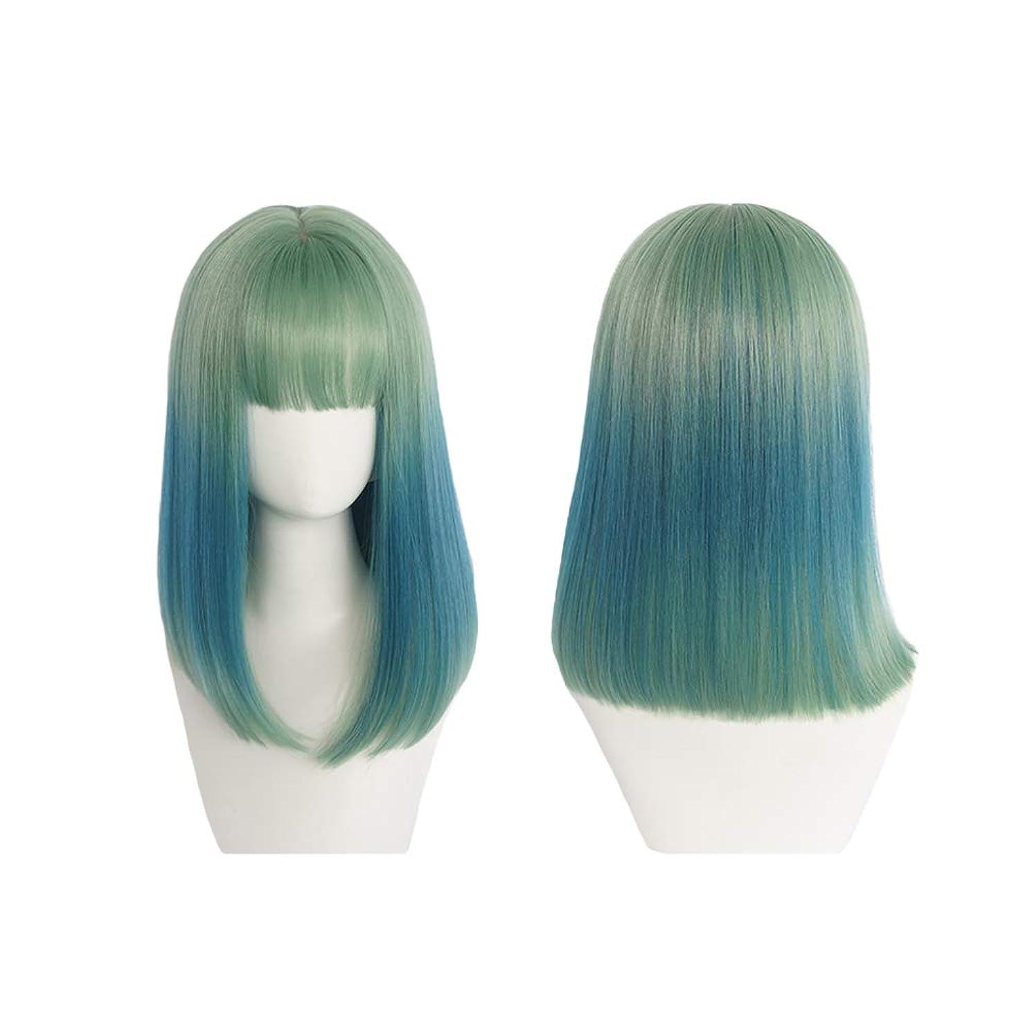 スポンサーポンド認証ウィッグ - ミディアムロングストレートウィッグハロウィーンコスプレヒートナチュラル40cmグリーングラデーションブルー (色 : Green, サイズ さいず : 40cm)