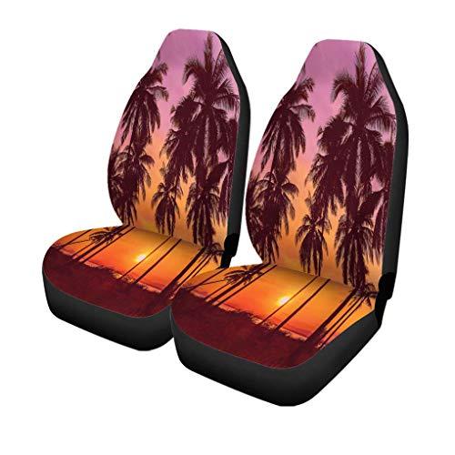 XZfly autostoelhoezen voor op het strand bij zonsondergang in vintage-stijl, 2 autobeschermers, geschikt voor de auto
