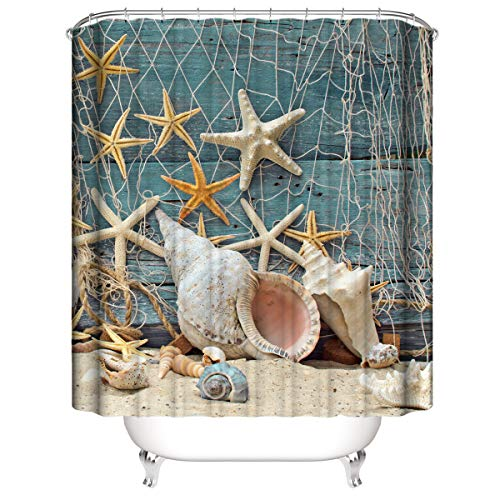 A&S Creavention Sea Star and Shells Theme Design Shower Curtain 70'x70', 1pc