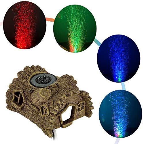 hygger Aquarium LED Bubble Light Fish Tank Air Stone Light Colored Light Ornament for Aquarium Fish Tank