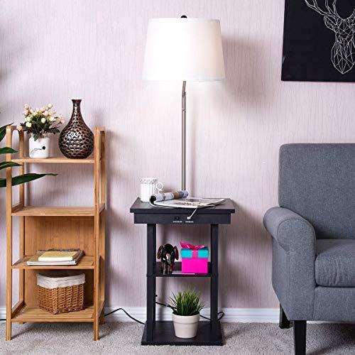 ZTKBG staande lamp nachtkastje met capuchon met kantellicht ingebouwd in de koffietafel inclusief 2 USB-poorten (White Hood)