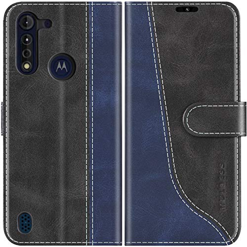 Mulbess Handyhülle für Motorola Moto G8 Power Lite Hülle Leder, Motorola Moto G8 Power Lite Handy Hülle, Modisch Flip Handytasche Schutzhülle für Motorola Moto G8 Power Lite, Schwarz