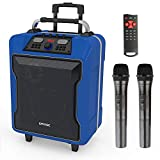 """EARISE M60 Portable PA System Work with Bluetooth, DJ Karaoke Amplified Loudspeaker with 2 Wireless Microphone, 10"""" Subwoofer, Remote Control, Aux Input, Telescoping Handle, USB Charging & Wheels,Blue"""