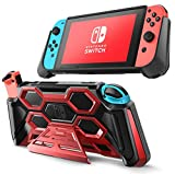 Mumba Protective Case for Nintendo Switch, [Battle Series] Heavy Duty Grip Cover for Nintendo Switch Console with Comfort Padded Hand Grips and Kickstand (Red)