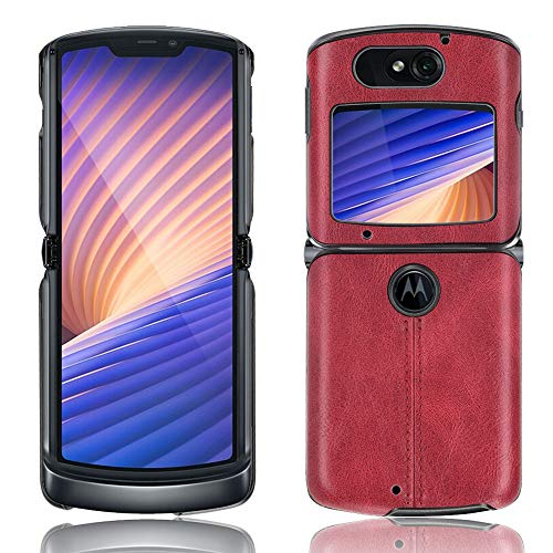 SPAK Motorola Razr 5G 2020 Hülle,Weicher TPU Rahmen + PU-Leder Harte Rückseitige Schutzhülle für Motorola Razr 5G 2020 (Rot)