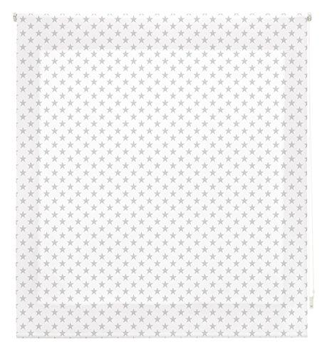 Blindecor S-Stars Estor Enrollable Digital Translúcido, Tela, Blanco con Estrellas Gris, 150 x 180 cm