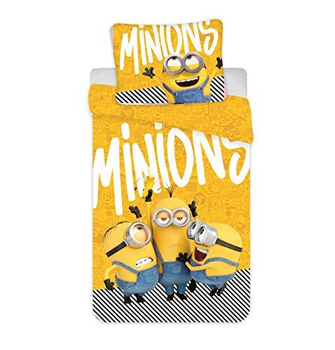 Jerry Fabrics Minions Bettwäsche Bob Kevin Stuart Yellow Kopfkissen Bettdecke für 135x200 Set