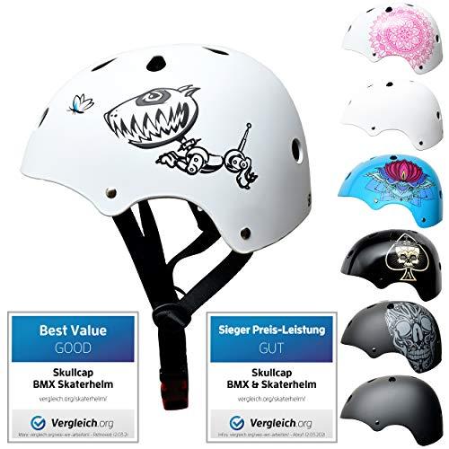 Skullcap® Skaterhelm Kinder Weiß Robodog - Fahrradhelm Jungen ab 6 Jahre Größe S (53-55 cm) - Scoot and Ride Helmet Kids - Skater Helm für BMX Scooter Inliner Fahrrad Skateboard Laufrad
