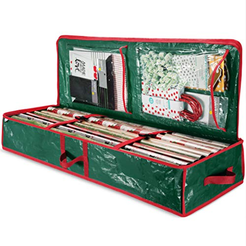 """ZOBER PE Underbed Gift Wrap Organizer, Interior Pockets, fits 18-24 Standard Rolls, Underbed Storage, Wrapping Paper Storage Box and Holiday Accessories, 40"""" Long - Tear Proof Fabric"""