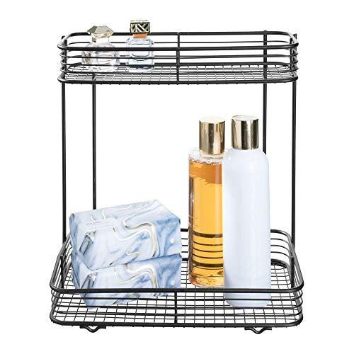 iDesign Conjunto Vienna de 1 item retangular para armazenamento de cosméticos e artigos de higiene, banheiro, bancada, mesa e penteadeira, 15 x 25 cm x 25 cm, prateleira de 2 camadas
