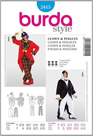 Burda 2415 Schnittmuster Kostüm Fasching Karneval Clown & Pinguin (Damen, Gr. 36-50) – Level 3 mittel