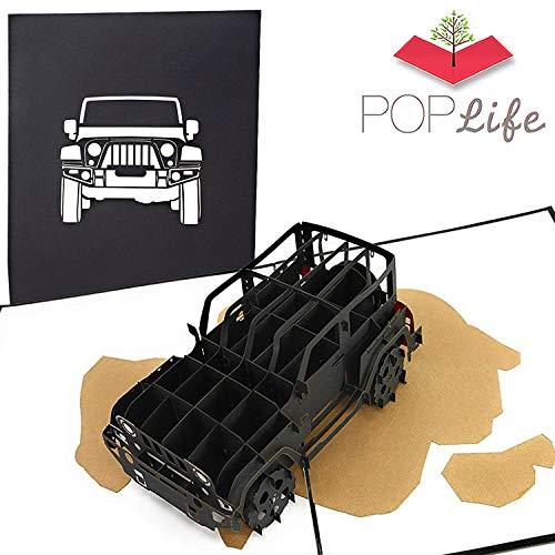 PopLife Cards Jeep Truck Väter Tag Pop-up-Karte für alle Gelegenheiten - Vatertag, alles Gute zum Geburtstag, Abschluss, Ruhestand, Arbeitsjubiläum - suv Fahrer, Offroad, 4x4 Auto - Falten flach für