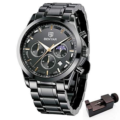 BENYAR -Wrist Watch for Men, Stainless Steel Strap Watches, Perfect Quartz Movement, Waterproof...