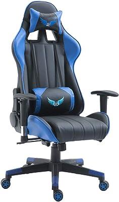 Urhomy ゲーミングチェア 足サポートなし オフィスチェア デスクチェア ゲーム用チェア コンピューターゲーム特別椅子 可動腰クッション付き ヘッドレスト リクライニング パソコンチェア ハイバック ヘッドレスト 腰痛対策 ランバーサポート ひじ掛け付き 高さ調整機能