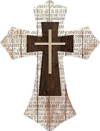 P Graham Dunn Lord s Prayer Three Cross Whitewash with Dark Wood 16 x 12 Wood Wall Art Plaque product image