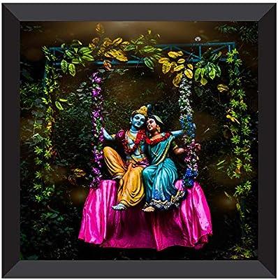 SAF UV Coated Radha Krishna Modern Art Multieffect Digital Reprint Painting 12 inch X 12 inch SANF21035