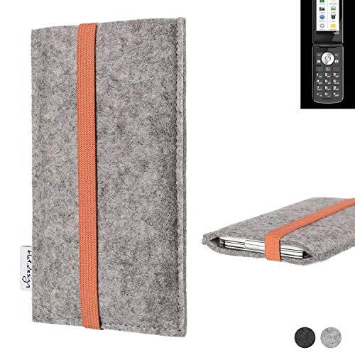 flat.design Handy Hülle Coimbra für Emporia TOUCHsmart - Schutz Hülle Tasche Filz Made in Germany hellgrau orange