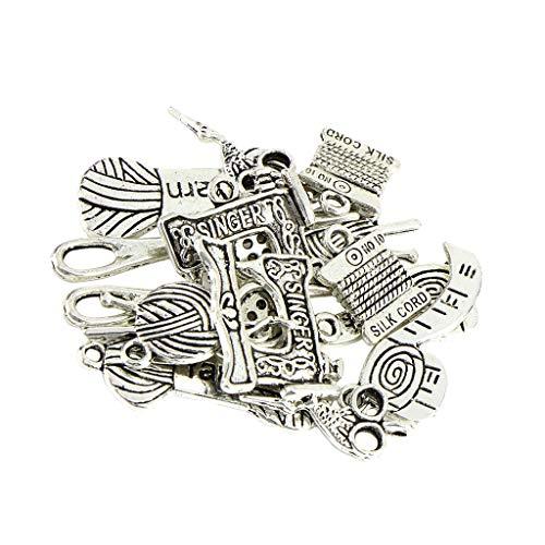 Hellery Lotes Tibet Silver Charms Colgantes Diseño De Accesorios De Costura para Pendientes DIY - 16 unids