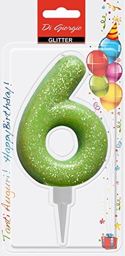 Cereria di Giorgio- Candela di Compleanno Gigante con Glitter Numero 6, Verde, 58160_66