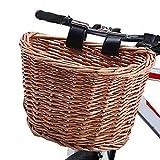 Lixada Cesta para Bicicleta En Forma de D Cesta de Bicicleta de Manillar Frontal de Mimbre Accesorio de Bicicleta