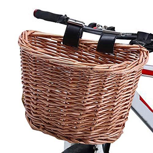 Lixada Fahrradkorb Vorne,D-Förmiger Lenker Fahrradkorb,Wasserfester Wicker Lenker mit Lederriemen