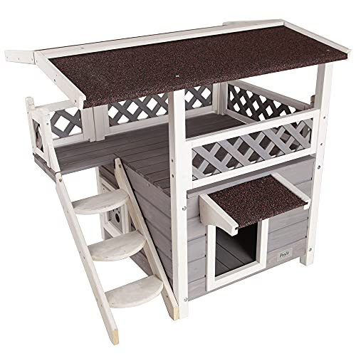 Petsfit Outdoor Cat House for Feral Cats Weatherproof, 2...