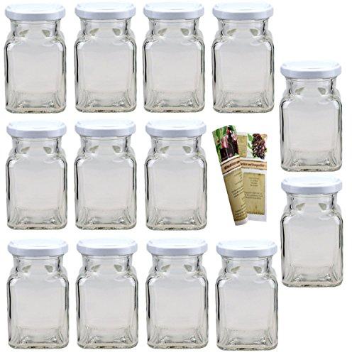 gouveo 15er Set Leere eckige Einmachgläser Quadrat 150 ml incl. Drehverschluss Weiß, Vorratsgläser, Marmeladengläser, Einkochgläser, Gewürzgläser, Einweckgläser von Flaschendiscount