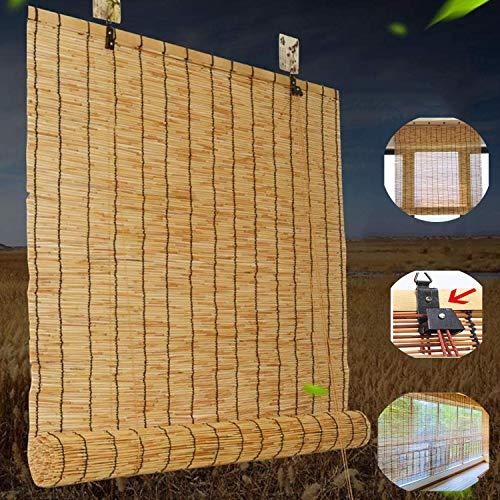 Natural Reed Cortina Estores Enrollable de Paja,Persianas de