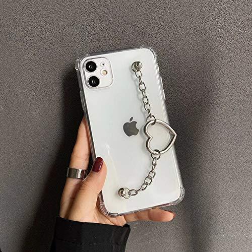 FYMIJJ Funda para teléfono con Cadena de corazón a la Moda para iPhone 12 Mini 11 Pro MAX 7 8 6 6 Plus X XR XS SE 2020 Funda Protectora Transparente Love Bracelet, A, para iPhone 11Pro MAX
